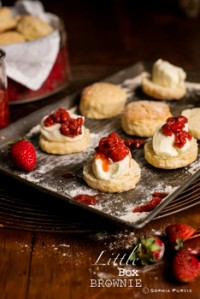 Apple Cider Scones with Cider-infused Strawberries by Sophia of Little Box Brownie